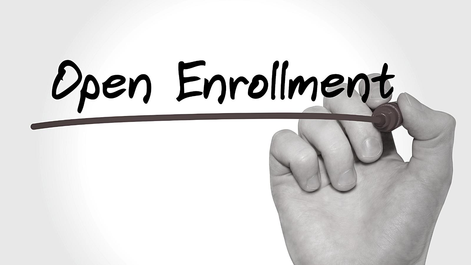 open-enrollment-text-on-white-board